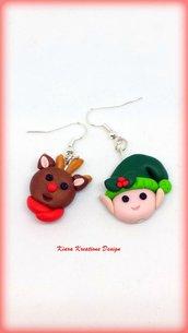 Orecchini natalizi con elfo e renna, gioielli in fimo natalizi come regalo di Natale per bambina