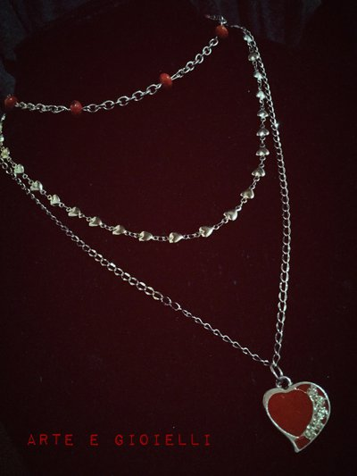 Collana 3 fili con cuore rosso♥️