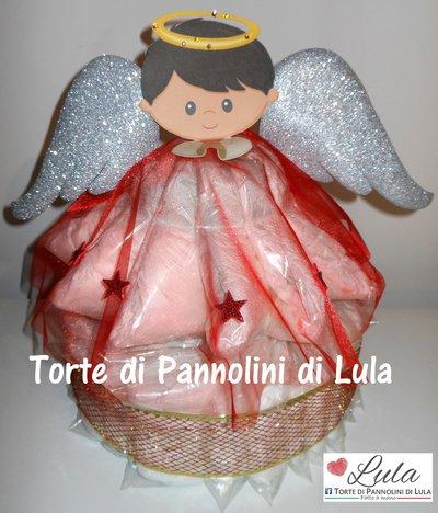 Torta di Pannolini Angelo Natalizio idea regalo Natale nascita battesimo baby shower neonato