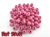 50 Perline in Legno tondo - Rosa (8mm)