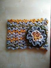 Scalda collo uncinetto lana merino collo in lana sciarpa anello fatta a mano