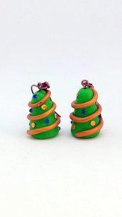 Orecchini natalizi con albero di Natale, gioielli in fimo natalizi come regalo di Natale per donna