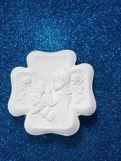 Icona bimba prima comunione gesso ceramico per fai da te