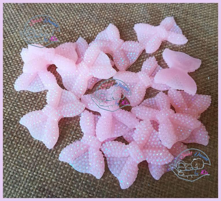 Fiocchetto glitter in resina ROSA