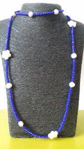 Collana cristalli di vetro, ceramica e perle di fiume