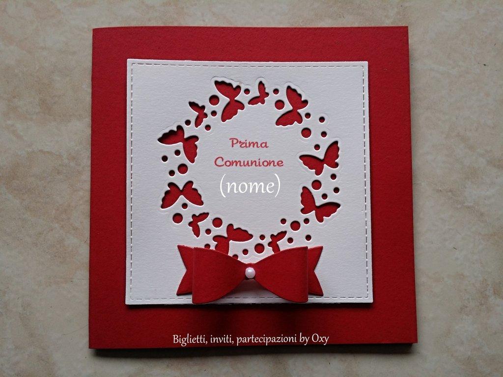 Invito per Comunione / Cresima. Fiocco rosso e farfalle.