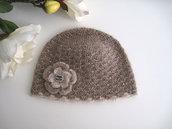 Cappello cappellino bambina 4 - 7 anni color cioccolato con fiore