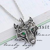 Ciondolo lupo collana amuleto vichingo portafortuna occhi cristallo verdi