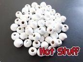 50 Perline in Legno tondo - Bianco (8mm)