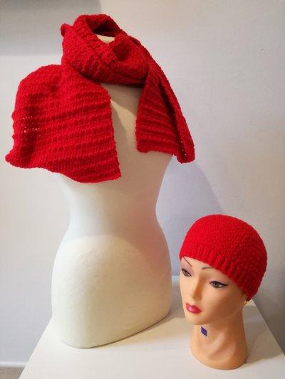 coordinato sciarpa e cappello rosso