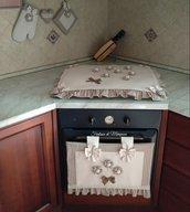 Set cucina copriforno, coprifornelli, guantone,presina stile country chic
