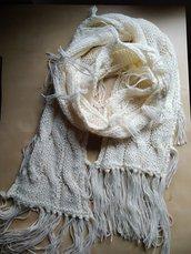 Sciarpa ai ferri donna con frange panna boho hippy bianco lunga trecce