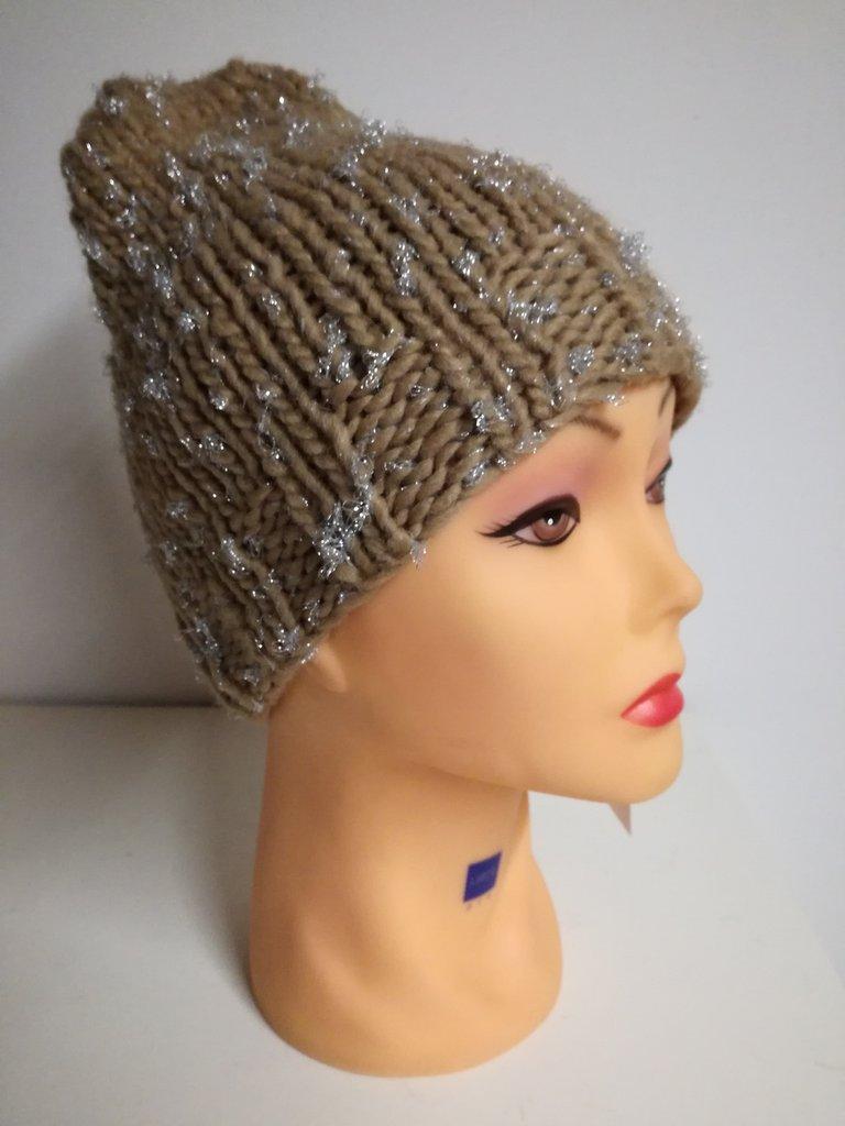 cappello in lana nocciola lamè