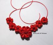Collana kanzashi con fiori 1.9 colore rosso