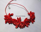 Collana kanzashi con fiori 2.0 colore rosso