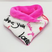 "Scaldacollo in pile - ""I Love You"" con interno fucsia"