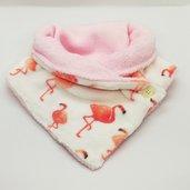 Scaldacollo in pile - Fenicotteri bianco con interno rosa