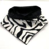 Scaldacollo in pile - Tigrato bianco con interno nero