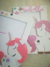 Cornice porta foto in legno con unicorno. Stella glitter. Personalizzabile con nome. Colori a scelta