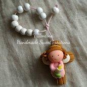 Bomboniera Comunione rosario personalizzata bimba angelo