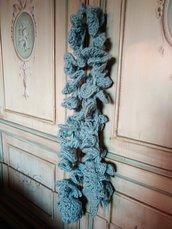 Sciarpa a uncinetto spirale pura lana chunky grigio azzurro o sciarpa lunga idea regalo