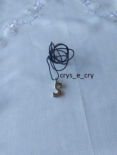 collana con ciondolo lettere .S. INIZIALE ALFABETO  colore argento