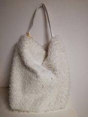 borsa in eco pelliccia bianca
