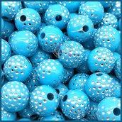 Lotto 25 perle acrilico 8 mm pavè di strass celeste
