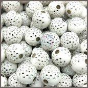 Lotto 25 perle acrilico 8 mm pavè di strass BIANCO