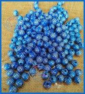 Lotto 25 perle acrilico 8 mm pavè di strass BLU