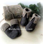 Stivaletti/scarpine e muffole/guantini bambino - pura lana e alpaca - fatti a mano
