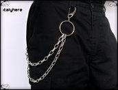 Catena per pantaloni, doppia catena modello forzatina, colore argento, con grande anello cromato - 55 cm.