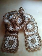 Sciarpa uncinetto boho granny square in lana merino sciarpa lunga piastrelle idea regalo panna e nocciola