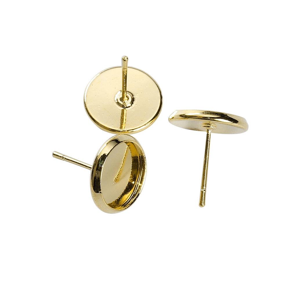 Coppia Perno dorato per orecchini 14 x 12 mm