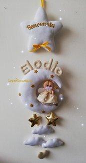 Fiocco nascita Orsetta damina/fatina con stelline gold/oro. Versione dorata.