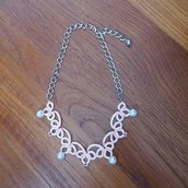 Collana catena, perle e pietrine color rosa antico
