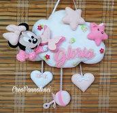Fiocco nascita Baby Minnie su nuvoletta