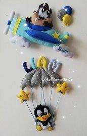 Fiocco nascita aereoplano e mongolfiera Baby Looney Tunes