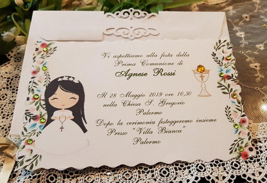 Invito Prima Comunione Personalizzato Bimba