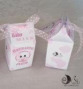 portaconfetti nascita e battesimo milk box baby milk baby girl