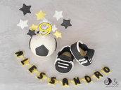 Cake topper calcio squadra del cuore juve, pallone da calcio, scarpette da calcio, stelle con nome