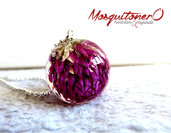 Collana fiori viola   Veri fiori   Gioielli in resina   gomphrena globosa   Gonfrena   Sfera in resina