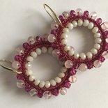 Orecchini fucsia con cristalli e quarzo rosa