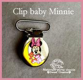 Clip in metallo Baby Minnie con orsacchiotto