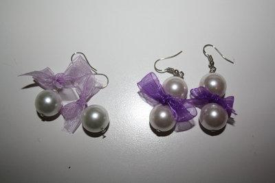 orecchini perle e fiocchi