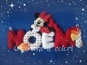 Noemi Banner nome in pannolenci con Minnie