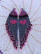 Orecchini lunghi con perline grigio/blu e rosa fatti a mano