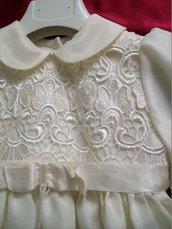 Vestito battesimo, abito a camicione avorio in lino ricamato.