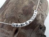 Collana da donna Minimalista in Acciaio con tubo martellato argento - WSN01