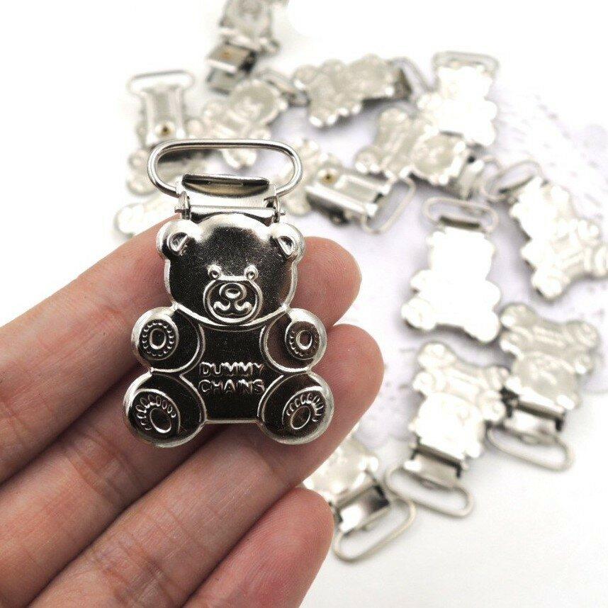 Clip in metallo  per catenella  portaciuccio figura Orsetto color argento